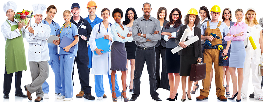 Different groups of career standing together