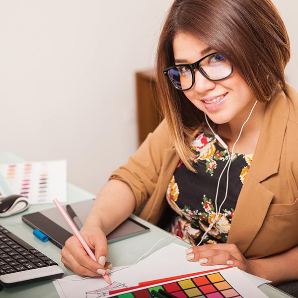 Graphic Designer developing new design concepts.